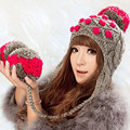 Cute Women's Thick Cable Multicolor Handmade Knitted Beanie Cap Ear Muff Warm Hat with Soft Pom