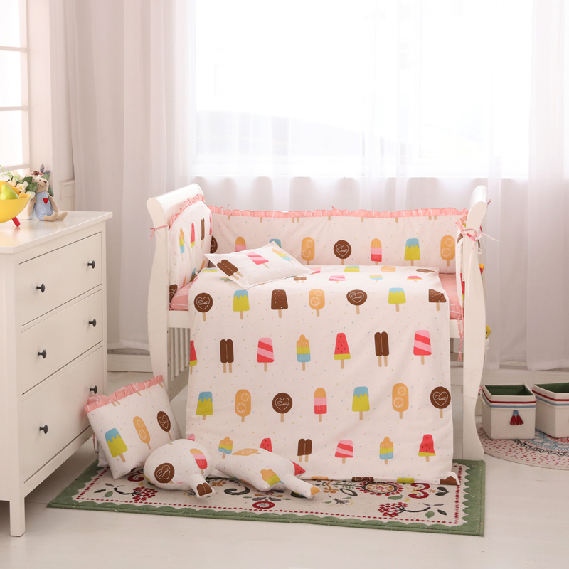 Cute Baby Crib Bedding Set Infant Bedding Set 100% Cotton Newborn Cot Set Crib Bumper Quilt Sheet Mattress Available Bedding infant bedding set newborn crib bedding set cute milk bottle and cows design with bed sheet quilt cover and pillowcase baby bed