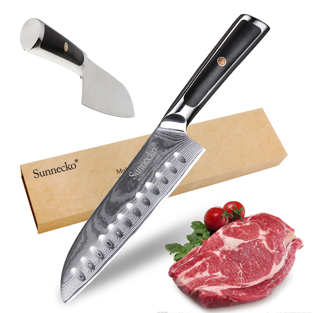 Sunnecko New 7 inch Santoku Knife Kitchen Knives 73 Layer Damascus VG10 Steel 60HRC Blade Razor