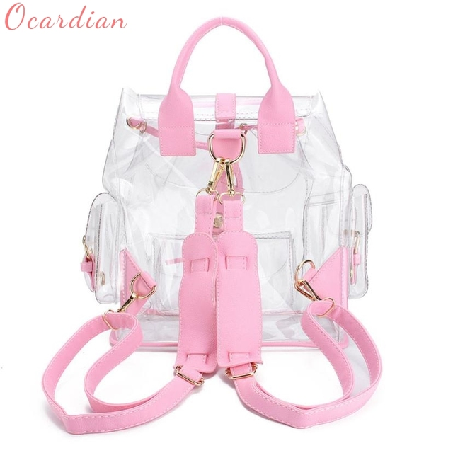 New Women Bags 2017 Luxury Brands S Clear Plastic See Through Security Transparent Backpack Bag Travel