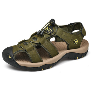Image 4 - Men Leather Outdoor Sandals Trekking Sandalias Hombre Mens Shoes Sandal Summer Man Sandles Sandali Uomo Casual Slip On Platform