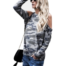 цена на New Spring Summer Camouflage Ladies Casual T-shirt 2019 Punk Style Women Loose Off-Shoulder Long Sleeves Shirts