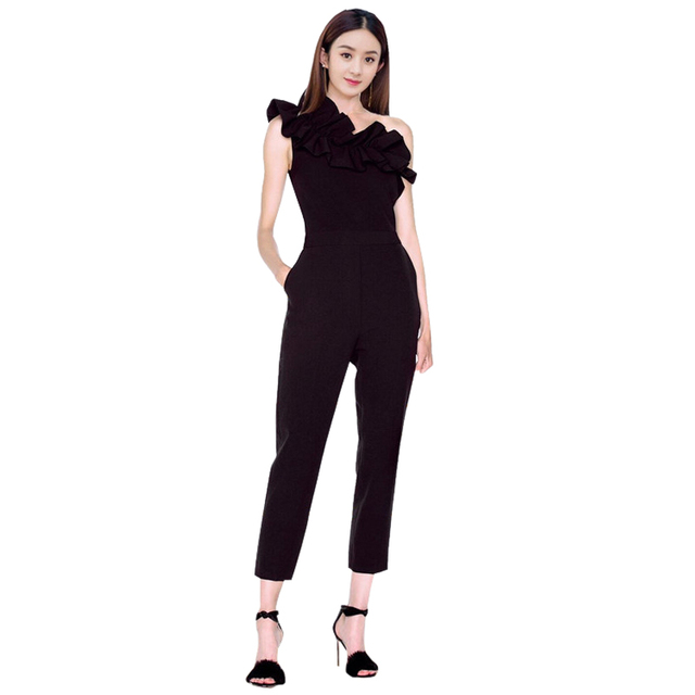 6c803396bda rompers womens jumpsuit black   red sexy single one shoulder flouncing  ruffles ankle length long pants