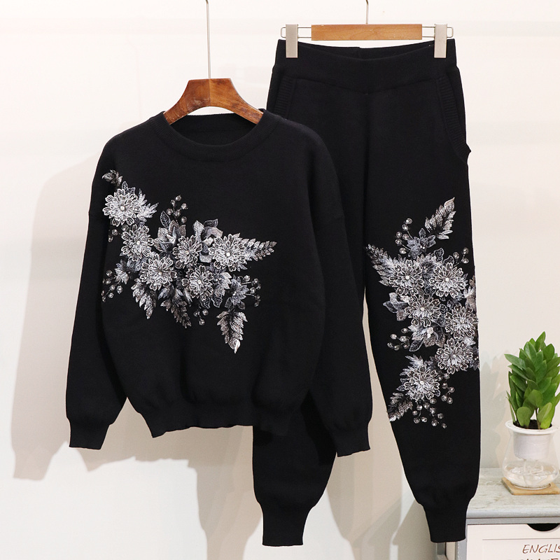2019 Autumn Winter Flower Beadings Embroidery Casual Sports Knitted Trouser Women Sweater Suit Jumper Sweater Tops