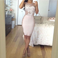 Sexy Cocktail Dresses 2017 Scoop Knee Length Cocktail Party Dresses Short Robe de Satin Appliques Hot Women Gowns Summer Dress