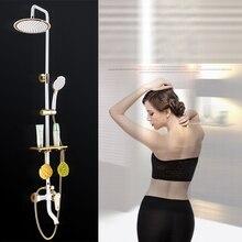 Dofaso ย้อนยุคผสมชุดสีขาวและสีดำก๊อกน้ำอาบน้ำห้องน้ำทองปริมาณน้ำฝนทองเหลืองโบราณห้องอาบน้ำฝักบัวก๊อกน้ำชุด