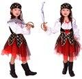 Девушки Хэллоуин Карнавал Партия Пиратский Косплей Костюмы Дети Череп Печати Одежда Длиной До Колен Юбки Платье С Бантом + Головной Платок