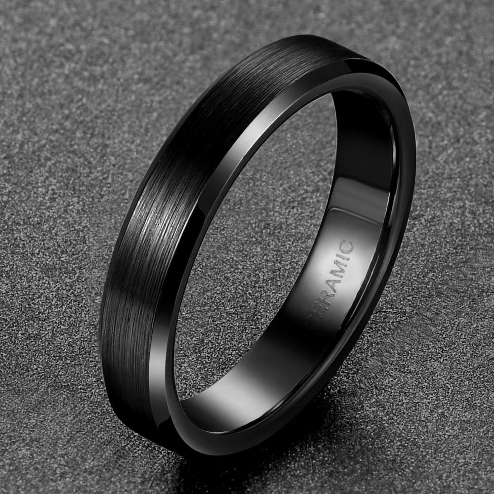 TIGRADE 4 mm μαύρο βουρτσισμένο κεραμικό δακτύλιο γυναικών άνδρες δαχτυλίδια γάμου αρραβώνων γυναικεία κοσμήματα Anillo Negro Bague Ceramique