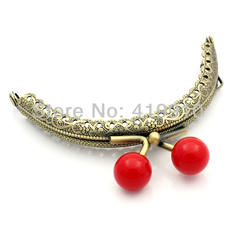 Buckles & Hooks Devoted Free Shipping-2pc Metal Frame Kiss Clasp Arch For Purse Bag Lock Handle Diy Handmade Antique Bronze Red Ball 8.8x7.5cm Street Price