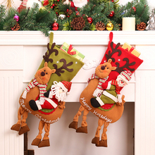 Flannel Material Christmas Stockings Filler Large Red/Green Socks Christmas Tree Ornaments Christmas Decorations for Home 2016
