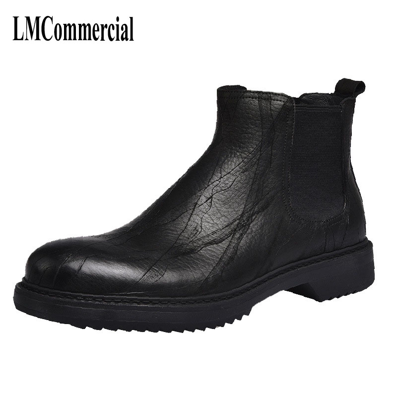 men Martin leather boots high shoes for England thick soled casual shoes fashionable tide Chelsea boots breathable British retro
