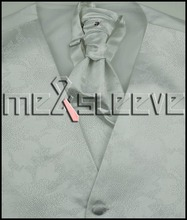 XS – 15XL. Italian Design white top quality Tuxedo Vest & ascot Tie Set.