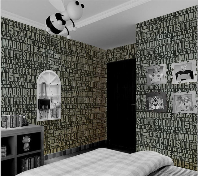 Wall Papers Home Decor Living Room Tv Background Waterproof English Letters Children S House