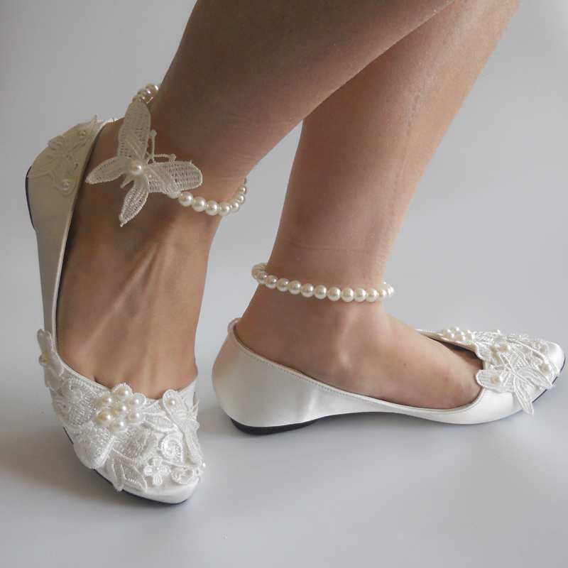 New Fashion Ivory Satin Lace Pearls Women Wedding Shoes Erfly