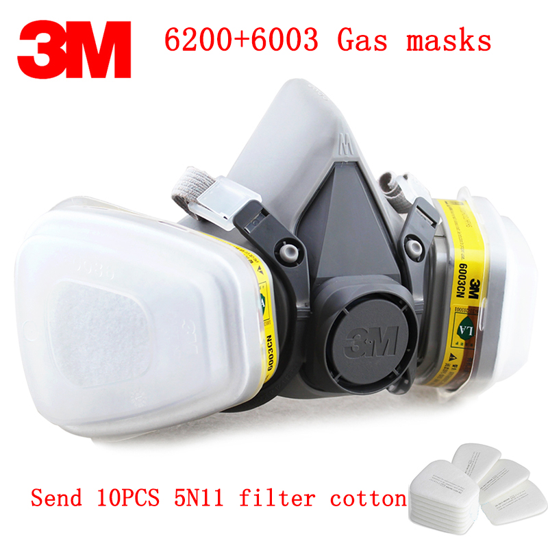 3M 6200+6003 respirator gas mask Genuine security 3M protective mask against Hydrogen sulfide gasmaske Add filter cotton 3m 6300 6003 half facepiece reusable respirator organic mask acid face mask organic vapor acid gas respirator lt091