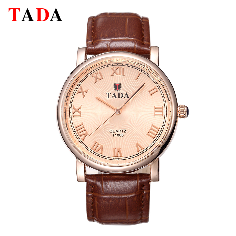 Tada Brand relogios Luxury Genuine Leather Strap Women Fashion Roman Numerals Analog hour Clock 30m Waterproof Men Quartz Watch 2016 fashion casual men women unisex neutral clock roman wood leather band analog hour quartz wrist watches relogios fabulous