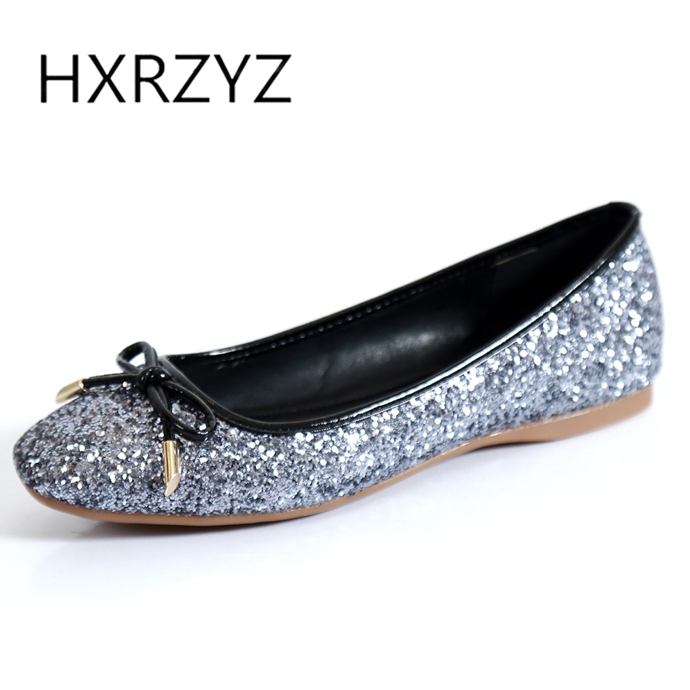 HXRZYZ large size women black flat shoes female sequins square toe casual shoes spring and autumn new fashion bowknot loafers 2017 new spring female flat heels martin shoes bullock shoes female thick bottom loafers large size women shoes obuv ayakkab