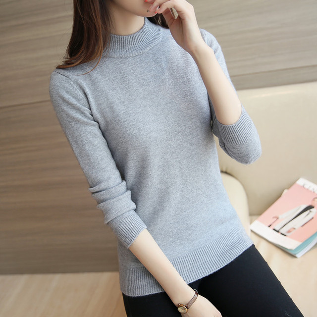 2016 New Women Pullovers Solid Turtleneck Long Sleeve Sweaters Casual Loose Cashmere Pullover Female Bottoming Knitwear