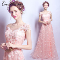 C V 2017 NEW Long Evening Dress Pink Petal Lace Bride Dress Formal Evening Dress Dinner