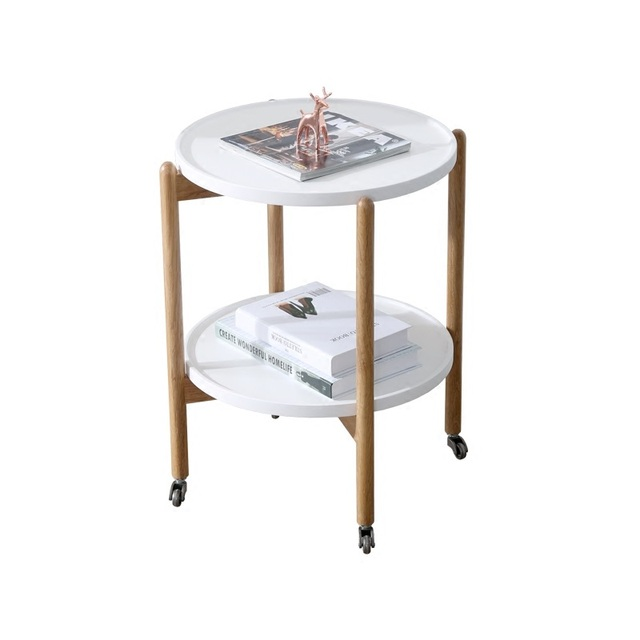 Minimalist Modern Small Round Creative Little Tea Table Household Table  Mobile Receive 2 Layer Wooden Multi