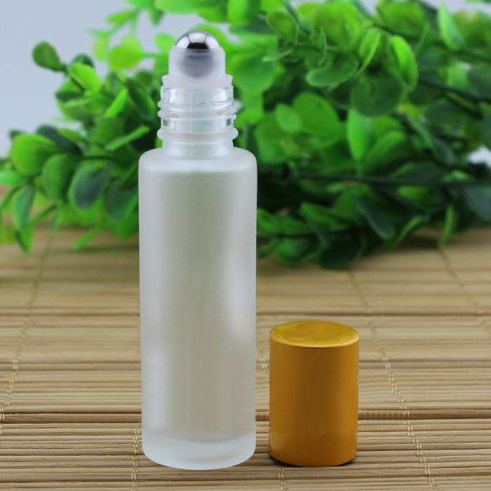 15 ml botella de vidrio esmerilado con (bola de acero) en rollo mate tapa de oro