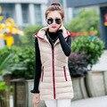 2015 новый осень горячие длинные женщин жилет мода тонкий рукавов женская зимние куртки весте femme DX420