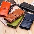 Женщины бумажник долго подлинной кожаный бумажник держатель хорошее качество карман на молнии многоцветной моды сцепления оптовая