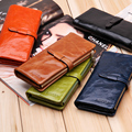 Mulheres carteira de longo genuíno titular carteira de couro com zíper de boa qualidade bolso multi-cor embreagem atacado de moda