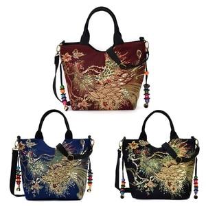 Image 2 - New Fashion Women Embroidery Ethnic Handbag Crossbody Purse Ladies Tote Shoulder Bag Vintage Canvas Handbags