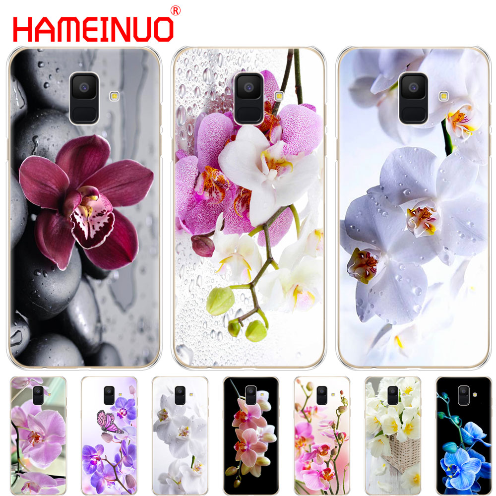 HAMEINUO Orchid Flowers Colorful cover phone <font><b>case</b></font> for <font><b>Samsung</b></font> Galaxy J4 J6 J8 A9 A7 2018 A6 <font><b>A8</b></font> 2018 PLUS j7 <font><b>duo</b></font> image