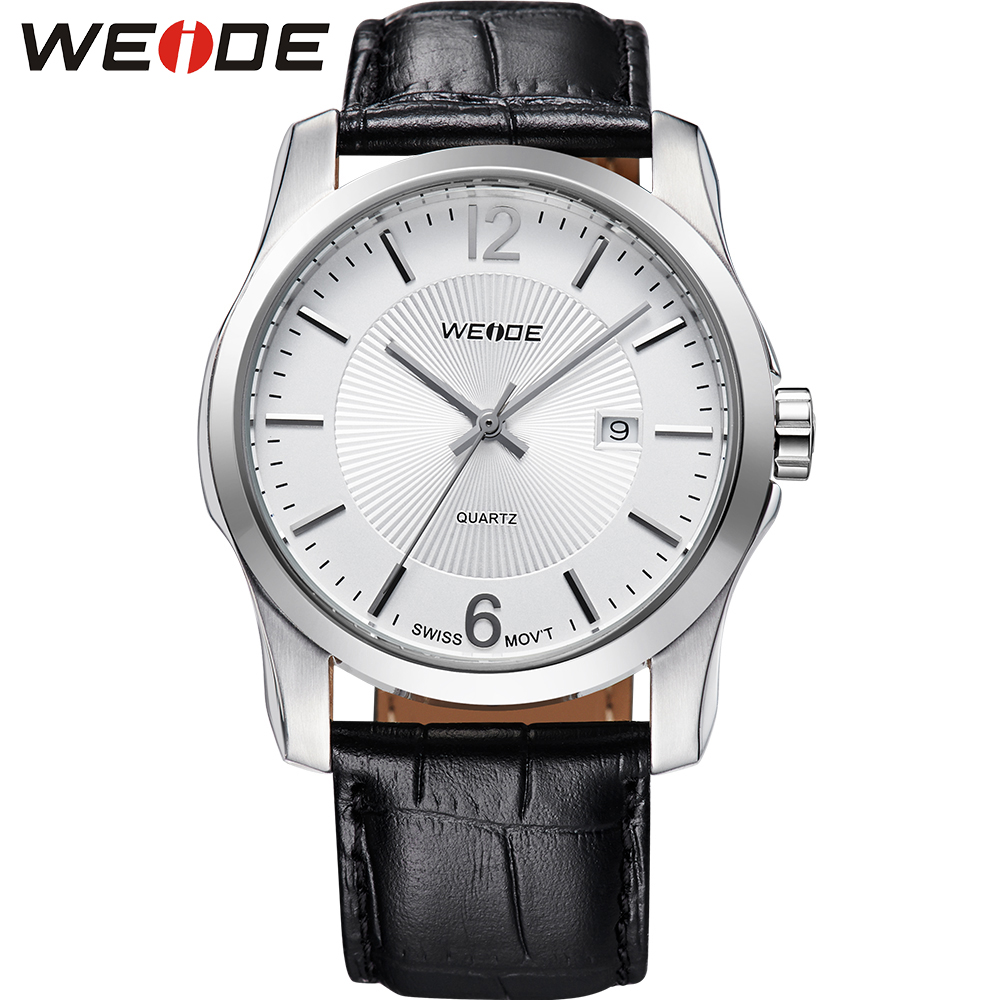 ФОТО WEIDE Popular Brand Male Analog Quartz Movement High Quality Black Leather Strap 30m Waterproof White Dial Wristwatches