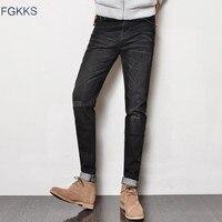 FGKKS Katoen Mannelijke Klassieke Baggy Jeans 2017 Mannen Zwart Mode Overalls Voor Mannen Designer Vintage Ontspannen Werk Jeans