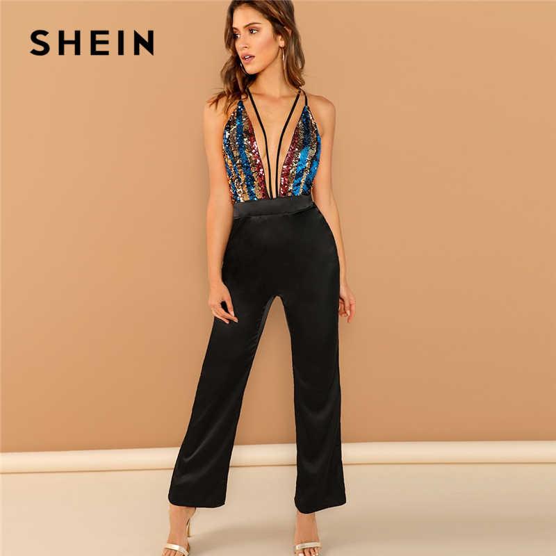 SHEIN черный с глубоким v-образным вырезом контрастный с блестками Холтер с открытой спиной полосатый комбинезон Highstreet женские осенние элегантные комбинезоны