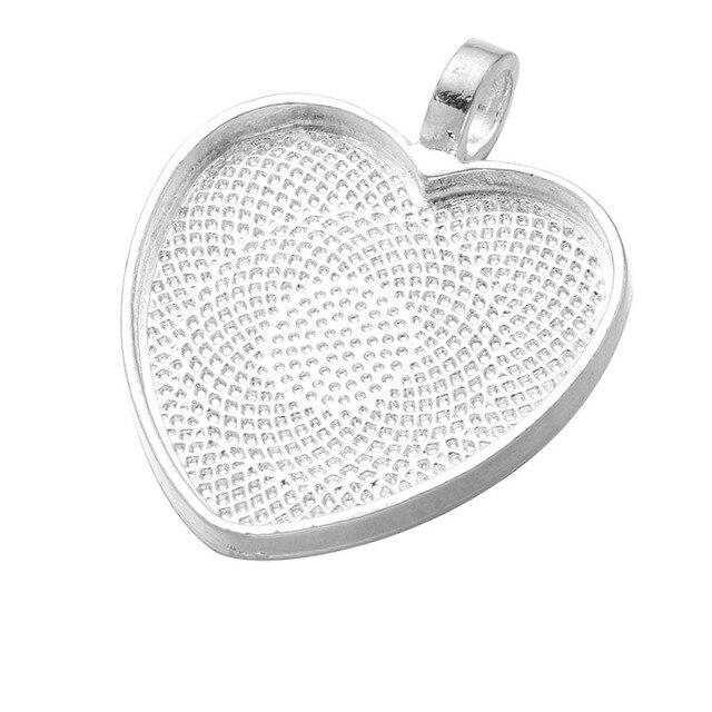 Aliexpress buy 10pcslot 25mm heart cabochons settings 10pcslot 25mm heart cabochons settings silver plated pendants bezel trays base fit 25mm glass mozeypictures Images