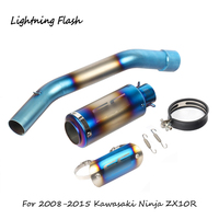 For 2008 2015 Kawasaki Ninja ZX10R Motorcycle Exhaust System Mid Tail Pipe Slip On 51 mm No Muffler Blue Steel Anti scald Shell