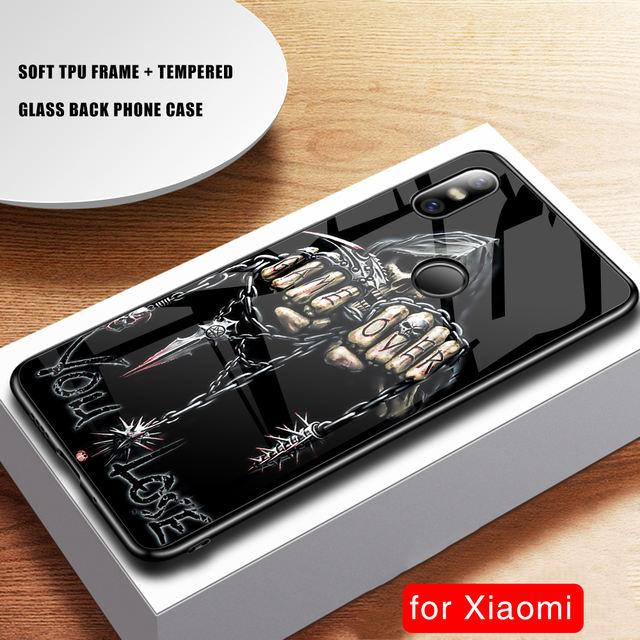 3D SKULL LUXURY TEMPERED GLASS XIAOMI PHONE CASE (9 VARIAN)