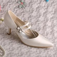 Wedopusปิดสีขาวรองเท้าแต่งงานแมรี่เจนแหลมนิ้วเท้าผู้หญิงปั๊มเจ้าสาว