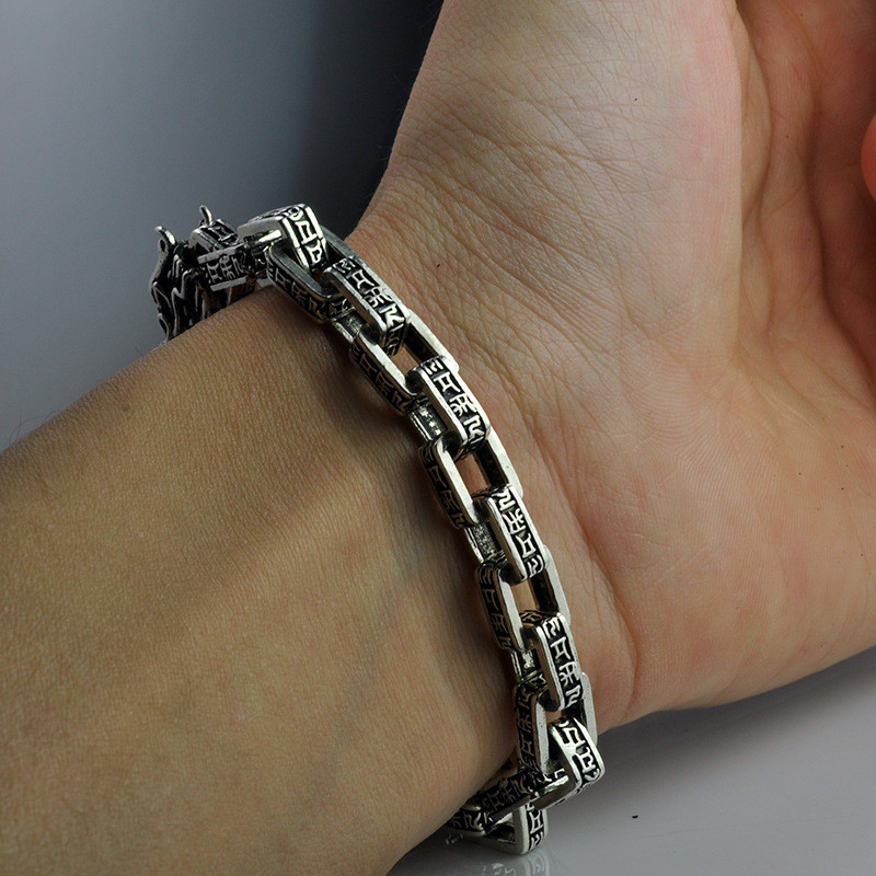 V.YA 7MM Pure 925 Sterling Silver Dragon Bracelet Men Male Fine Jewelry Vintage S925 Solid Thai Silver Chain Bracelets 925 sterling silver thai vintage pendant thai retro men male jewelry chian dragon bracelet ch059082