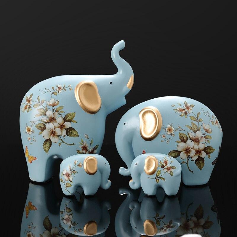 Éléphant créatif ornements une famille de trois quatre chanceux côté chambre salon TV armoire porche décorations cadeaux Figurines