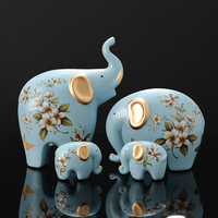 Creative Elephant Ornaments A Family of Three Four Lucky Side Room Living Room TV Cabinet Porch Decorations Gifts Figurines