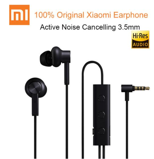 100% Original Xiaomi ANC Wired 3.5mm In-ear Earphone Active Noise Cancelling With Mic For Samsung Iphone For Android Ios Phone