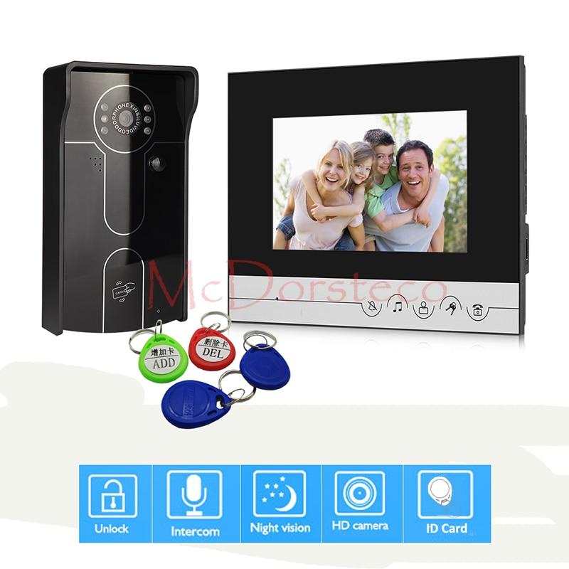 7 Inch Video Door Phone Doorbell Home Security Intercom System RFID Door Bell IR Night Vision Camera