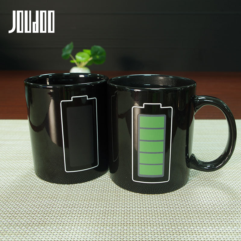 JOUDOO 330ML Battery Magic Mug Positive Energy Color Changing Cup Ceramic Discoloration Coffee Tea Milk Mugs Novelty Gifts 35