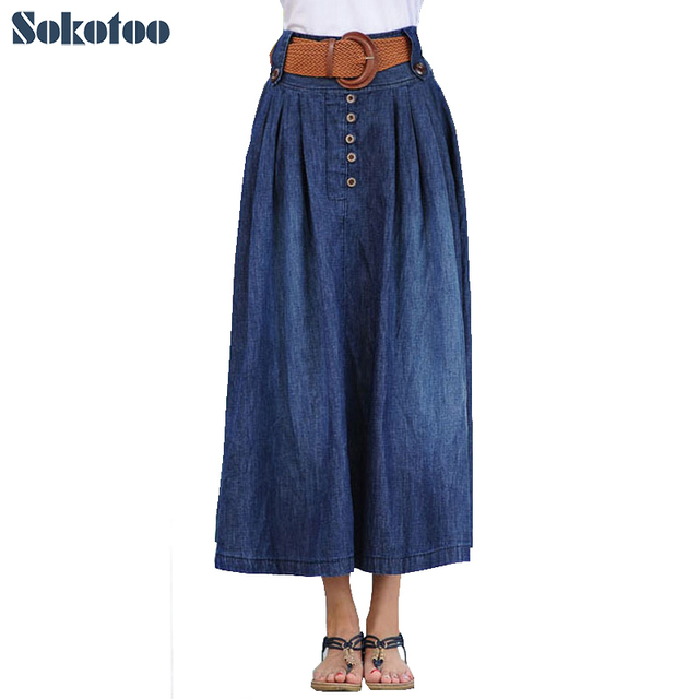 0a5226db83 Sokotoo Women's casual elastic waist wide flare skirt Lady's plus large  size ankle length long thin denim skirt with belt