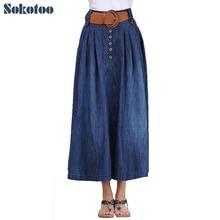 Sokotoo женская повседневная широкий flare юбка женская большой размер голеностопного длина длинный джинсовая юбка с поясом бесплатная доставка