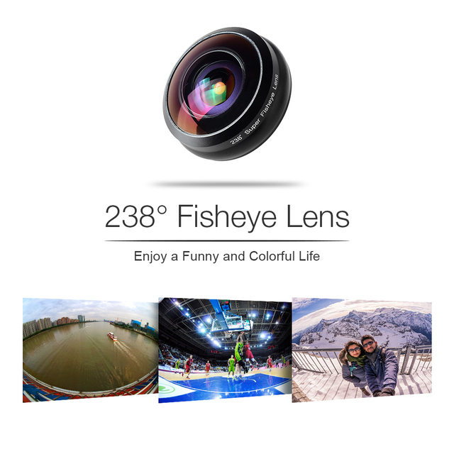 APEXEL Phone Lens 238 degree super fisheye lens, 0.2X full frame super Wide angle lens for iPhone 6 7 android ios smartphone 4