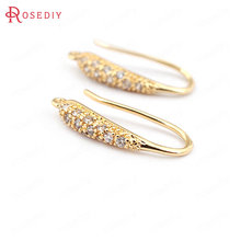 (31620)6PCS height 20MM 24K Gold Color Plated Brass with Zircon Earrings Hook High Quality Jewelry Earrings Accessories