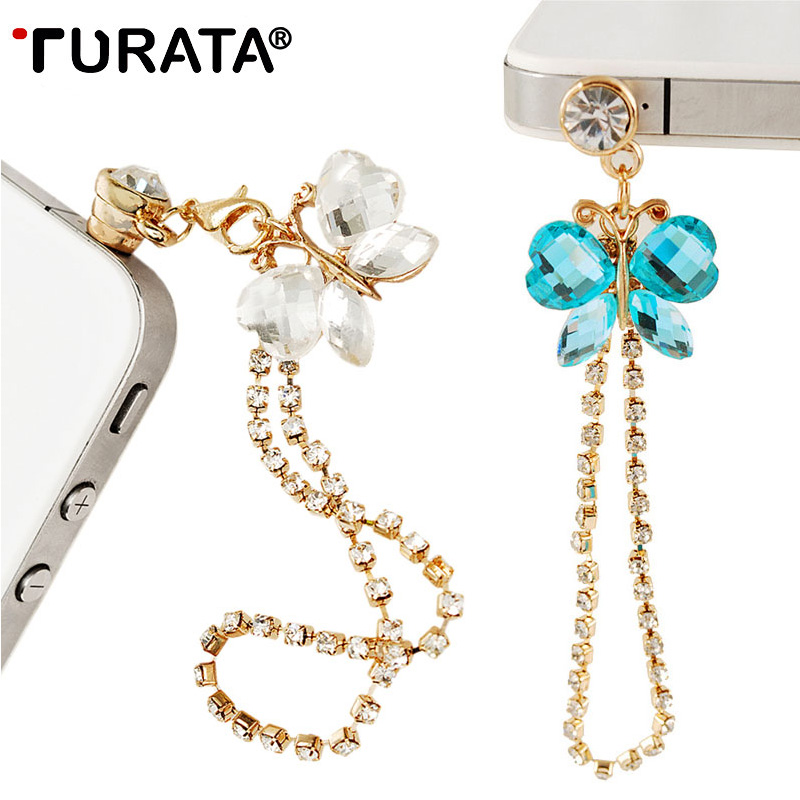 TURATA Universal 3.5mm Butterfly Diamond Dust Plug Mobile Phone accessories Gadgets Earphone Plugs For iPhone 7 6 6S 5 5S