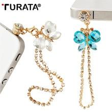 TURATA Universal 3.5mm Butterfly Diamond Dust Plug Mobile Phone
