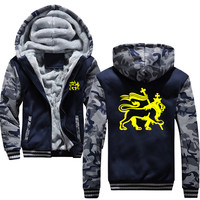 Rasta Lion Of Judah Classic Autumn Winter Sweatshirt For Men Thick Zipper Coat VIKINGS Harajuku Men's Jackets Hoodies Male
